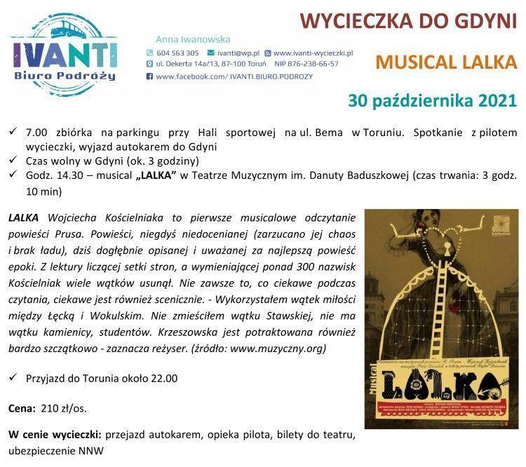Wycieczka do Gdyni na musical »Lalka«